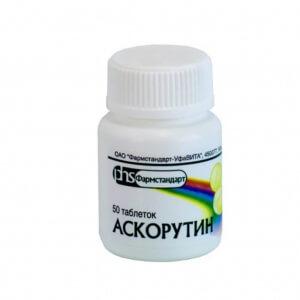 Препарат Аскорутин содержит рутин и аскорбиновую кислоту